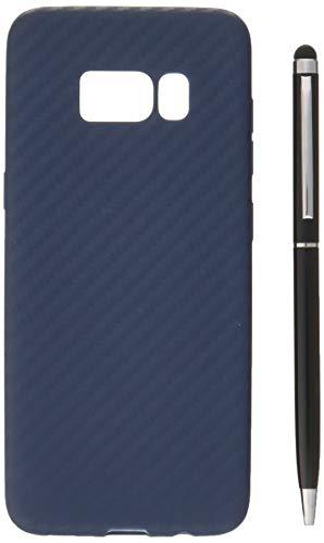 Galaxy S8 케이스 카본무늬TPU케이스【강화 유리 부착】3점 세트 SAMSUNG(삼성) 네이비 3347-1-01