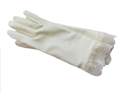 (Ivory Wrist Length Bridal Gloves with Lace Trim)