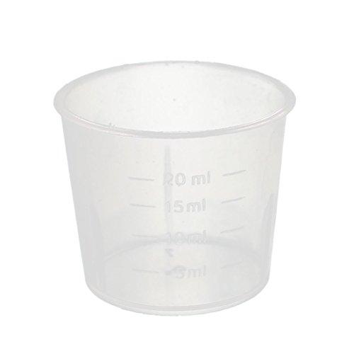 uxcell 5 Pcs 20mL Laboratory Transparent Plastic Liquid Container Measuring Cup Beaker