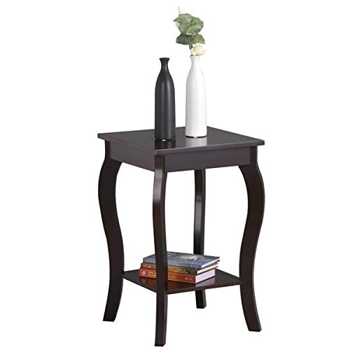 - Topeakmart Wood Curved Legs Accent Side End Table w/Lower Shelf Espresso
