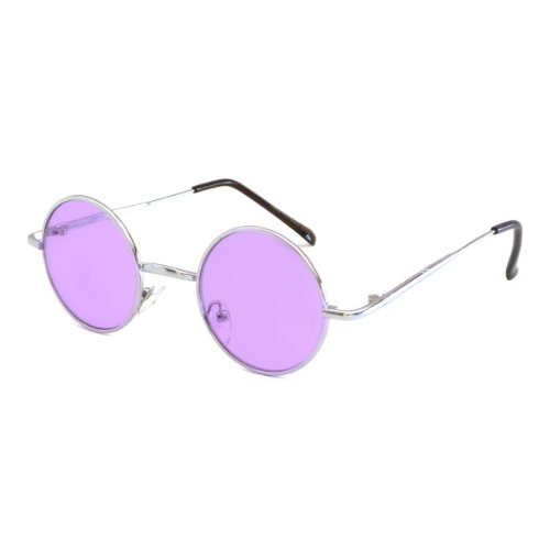 John Lennon Vintage Style Round Silver Party Shades Sunglasses PURPLE - Eye John Color Lennon