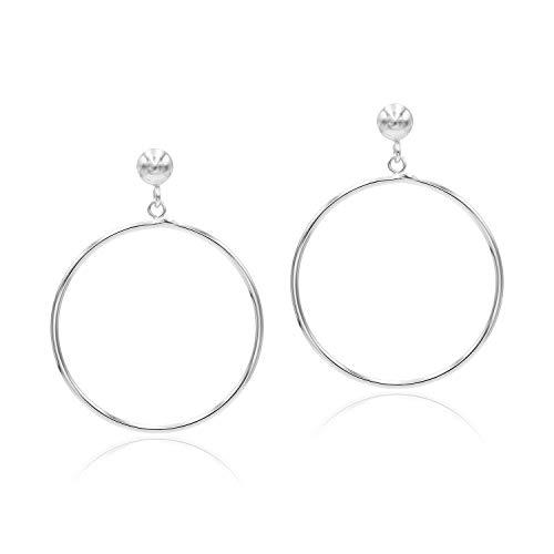 Sea of Ice Sterling Silver Polished Open Round Drop Hoop Earrings 5mm Bead Post Dangle Earrings for Women Girls
