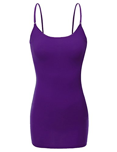 (RT1002 Ladies Adjustable Spaghetti Strap Basic Long Cami Tank Top D.Purple L)