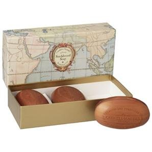 Caswell-Massey Triple Milled Luxury Bath Soap Woodgrain Boxed Set - Sandalwood Fragrance - 5.8 Ounces Each, 3 Bars made in New England