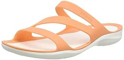 Crocs Women's Swiftwater Sandal Slide, Grapefruit/White, 8 M US