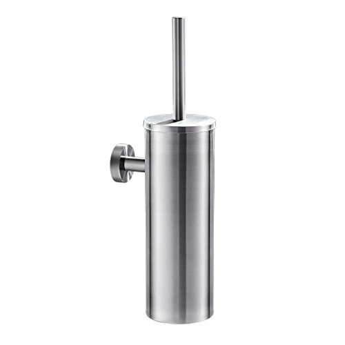 ROVATE Wall-mounted Toilet Bowl Cleaner Brush Holder and Scrub Brush Head Set, Brushed Stainless ()