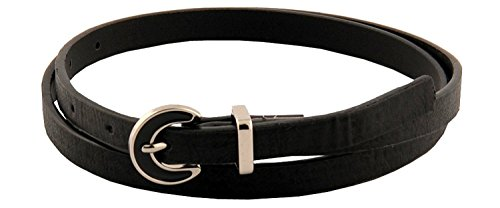 Sunny Belt Girls ½ Inch Wide Black Faux Leather Skinny Belt With Silver Buckle - Jeweled D-ring