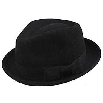 BuW Pure Black Wool Fedor Hat fashion fancy hats stylish hats for ... 7f41a19be72