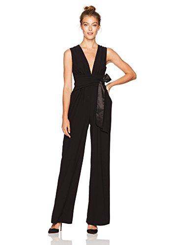 Halston Heritage Women's Sleeveless V Neck Wide Leg Jumpsuit with Wrap Tie, Black, 14