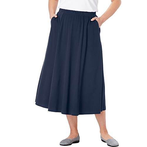 Woman Within Women's Plus Size 7-Day Knit A-Line Skirt - Navy, 3X