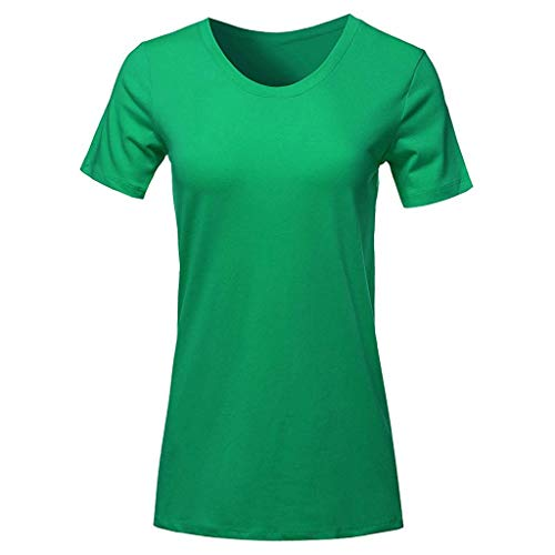 Keliay Womens Tops for Summer,Fashion Women Short Sleeve Round Neck T-Shirt Casual Tops Loose Top Blouse Green