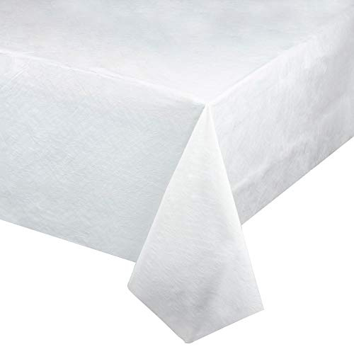 Juvale White Disposable Tablecloth - 6-Pack 54 x 108 Inch Rectangular Table Cover, 2-Ply Tissue and 1-Ply Poly Lined Plastic Backing, Wedding, Birthday Party Supplies, 4.5 x 9 Feet