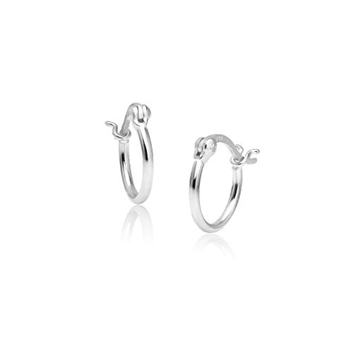 Big Apple Hoops - Genuine 925 Sterling Silver ''Basic and Simple'' Click-Top 12mm Round-Tube Hoop Earrings for Unisex I in 3 High Polish Mirror Finishes (Silver, Yellow Gold, Rose Gold)