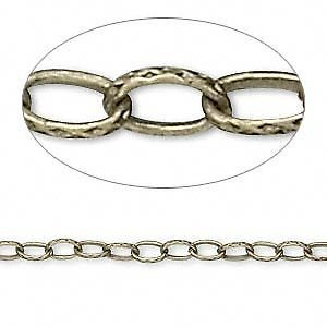 1782CH Chain Antiqued Brass Steel 5x3mm Stamped Rolo Cable Link 16 feet = 5 m Antiqued Stamped Brass