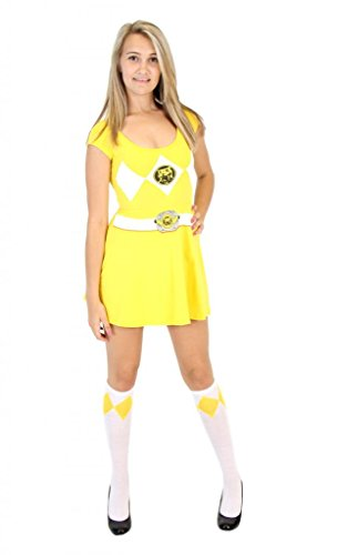 Power Rangers Yellow Ranger Costume Skater Dress (Juniors -
