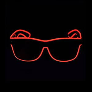 Aquat Glow Neon Rave Glasses El Wire LED Sunglasses Light up Costumes For Party, Halloween, DJ RB01 (Red, Black Frame)