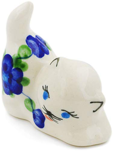 Polish Pottery Blue Art - Polish Pottery 2½-inch Cat Figurine (Blue Poppies Theme) + Certificate of Authenticity