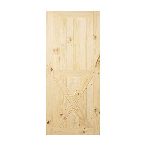 VANCLEEF Sliding Barn Door Rustic Unfinished Wood Panel Slab, 36in Width x 84in Height, Single X Design with Frame, for Closet, Pantry, Bathrooms, Bedrooms and Other Interior Use