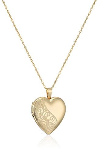 14k Gold-Filled Satin and Polished Finish Hand Engraved Heart Shaped Locket Necklace, (Hand Engraved Heart Locket)