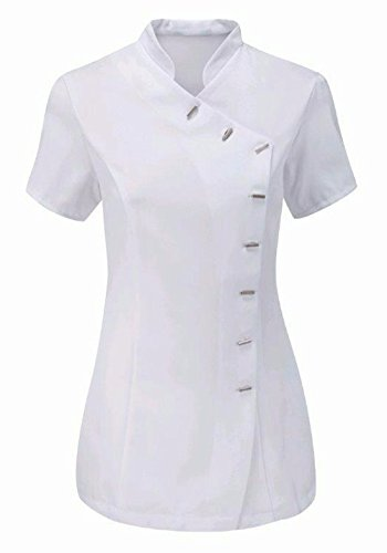 MA ONLINE Ladies Fancy Plain Beauty Salon Spa Tunic Womens Cutaway Mandarin Collar Therapist Hairdresser Uniform White US 14