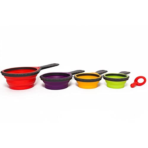 New Lennie Cook Collapsible Silicone Measuring Cups U0026 Measuring Spoons Set,  Portable 8 Peace