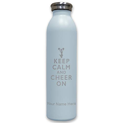 Cheers Carafe - Lasergram Sports Water Bottle, Keep Calm and Cheer On, Personalized Engraving Included (Light Blue)