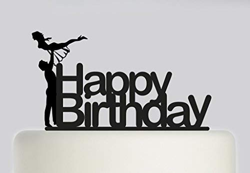 Dirty Dancing inspired Birthday Cake Topper with Baby and Johnny Acrylic Cake Topper Black Acrylic
