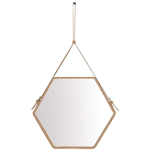XHCP Decorative Wall Hanging Mirror Hexagonal Faux Leather Border - 3 Light Brown Frame