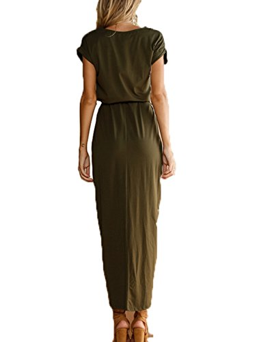 Women's Army Party Maxi Short Tunic Casual Long Xiber Summer Sleeve Dress Odq4CSxww