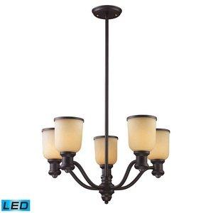 - ELK 66173-5-LED, Brooksdale Mini Glass 1 Tier Chandelier Lighting, 5 Light LED, Oiled Bronze