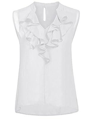 ThinIce Women's Sleeveless Ruffle Front Tank Top Sexy V Neck Office Chiffon Blouse Shirt
