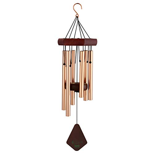 Wind Chimes Outdoor Handmade Wooden & 6 Aluminum Tubes Chimes with Hanging Hook Indoor and Outdoor Decor for Home Garden Yard - Home Decor Hook Garden