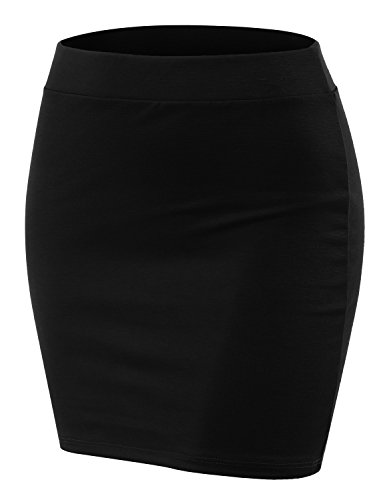 - Doublju Stretch Knit Bodycon Mini Skirt for Women with Plus Size Black Large