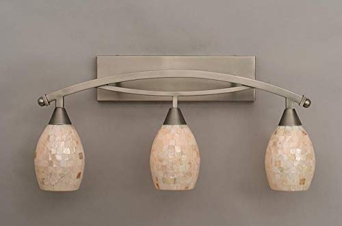 3-Light Bath Bar with 5 in. Ivory Glaze Seashell Shade