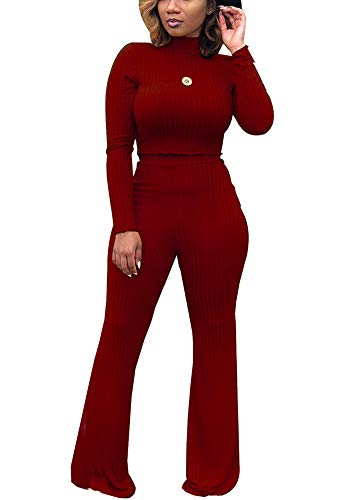 Women Two Piece Outfits - Long Sleeve High Neck Crop Top Bell Bottom Pants Matching Set Jumpsuit Burgundy M