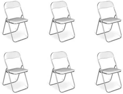 Sedia Pieghevole salvaspazio Imbottita Struttura in Metallo Seduta Ecopelle Set da 2 Sedie, Bianco