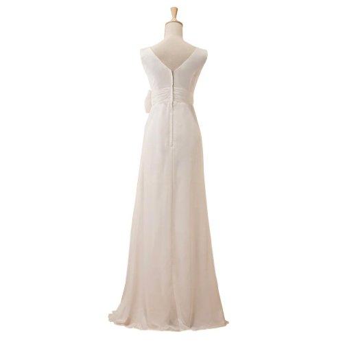 collo vita pavimento Negli Bianco Sation sexy Bowknot sporco il sera abito chiffon GEORGE con da V BRIDE lunghezza in EWcCnq4