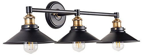 Andante LED Industrial 3 Light Wall Sconce - Black with Antique Brass - Linea di Liara LL-WL437-AB