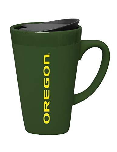 (The Fanatic Group Oregon University Ceramic Mug with Swivel Lid, Design 2 - Green)