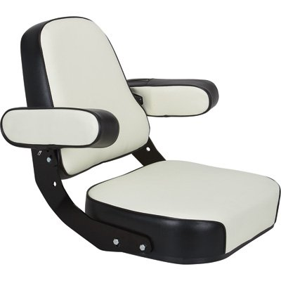 K & M Mfg Super Deluxe Seat Assembly for IH 06-66 Series Tractors - Black and White, Model# 7163 by K & M