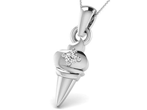 Or Blanc 18 ct Pendentifs Diamant en forme de Crème glacée, 0.01 Ct Diamant, GH-SI, 0.29 grammes.