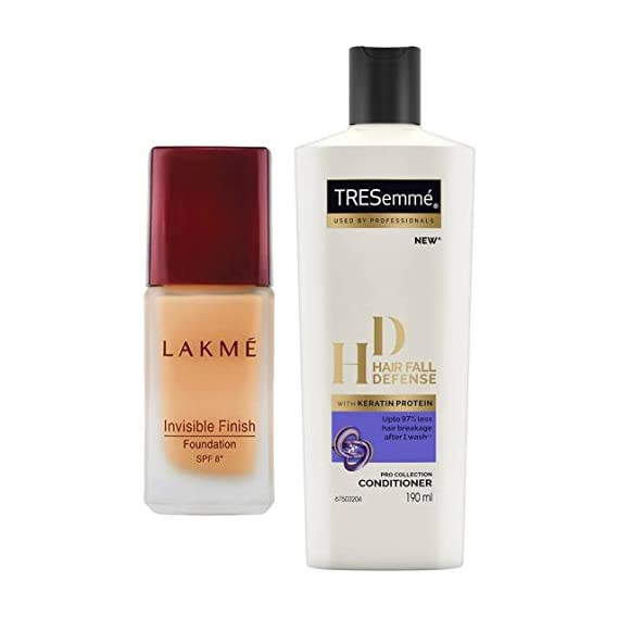 Lakme Invisible Finish SPF 8 Foundation, Shade 01, 25ml And TRESemme Hair Fall Defense Conditioner, 190ml