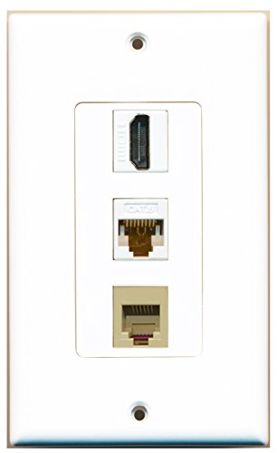 RiteAV - 1 Port HDMI and 1 Port Phone RJ11 RJ12 Beige and 1 Port Cat6 Ethernet White Decora Wall Plate Decora ()