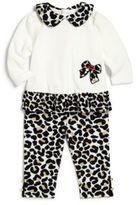 Hartstrings Baby Girls' Cotton Velour Tunic with Animal Print Legging, Marshmallow 6-9 Months