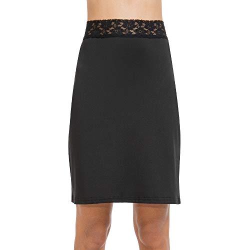 (MANCYFIT Half Slips for Women Underskirt Short Mini Skirt with Floral Lace Waistband Black Medium )