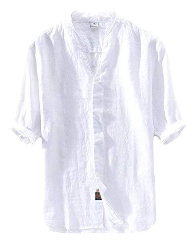 Bianca Manica Medium Uomo Vintage Mezza Unita colore Button Fuweiencore Plus Dimensione Tinta Cachi Down Size Camicie 4gqZaEB