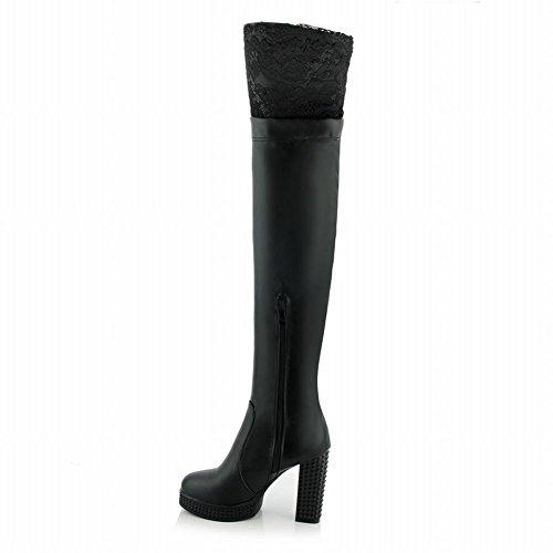 Latasa Femmes Mode Plate-forme De Dentelle Talons Hauts Sur Les Bottes De Robe De Genou Noir