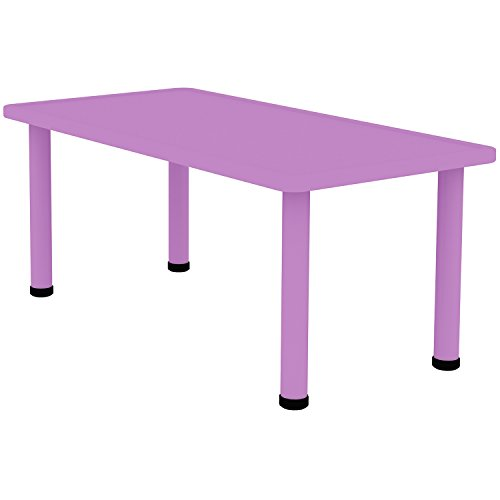"""2xhome - Purple - Kids Table - Height Adjustable 18.25'' - 19.25'' Rectangle Shape Child Plastic Activity Table Bright Color Learn Play School Home Fun Children Furniture Round Safety Corner 24""""x48'' by 2xhome (Image #1)"""