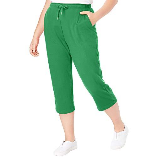 Woman Within Women's Plus Size Sport Knit Capri Pant - Vibrant Clover, 6X