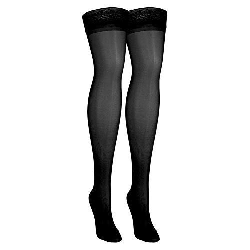 NuVein Sheer Compression Stockings for Women Fashion Silky Sheen Denier Thigh High, Black, X-Large